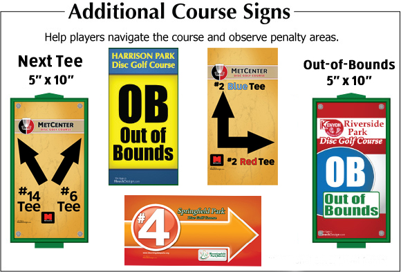 HouckDesign Premium Disc Golf Tee Signs - Additional Course Signs